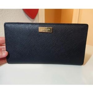 Kate Spade Navy Blue Saffiano Leather Card Wallet